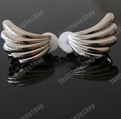 CLIP ON 80s style ANGEL WING silver tone RETRO EARRINGS
