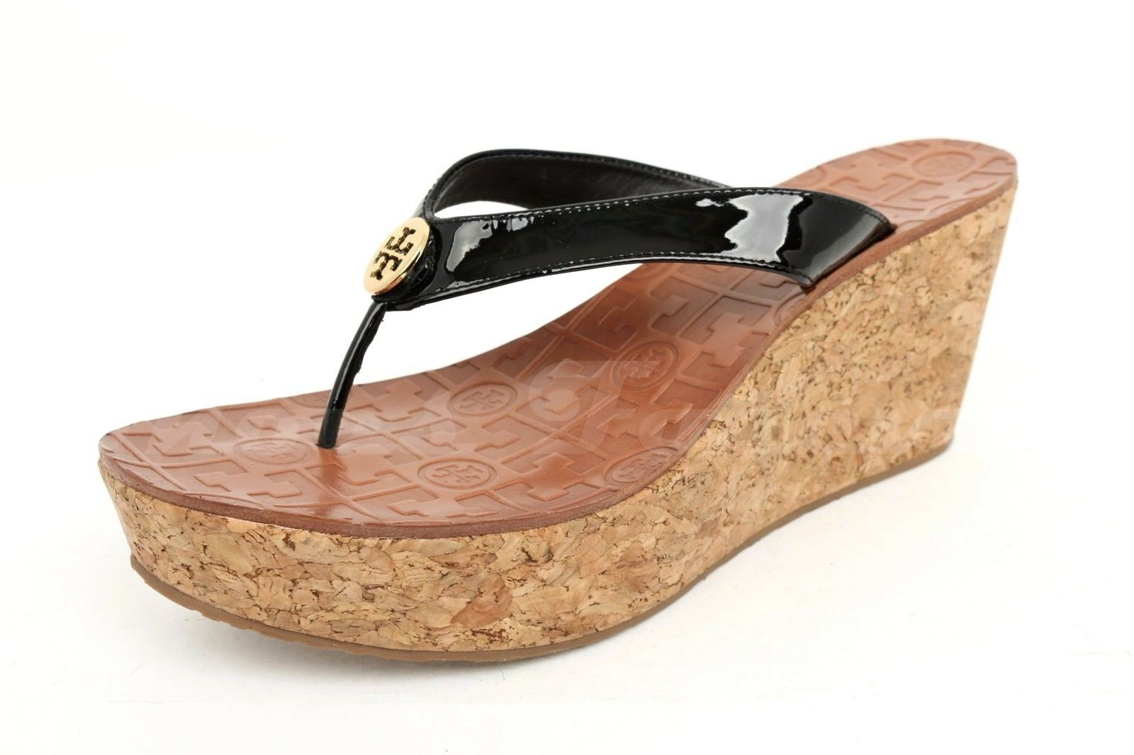 2614f4c55907 Tory Burch Thora Wedge Womens Black Patent Leather Thong Sandals 10 ...