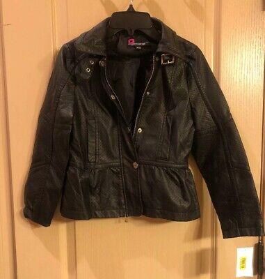 Yoki Big Girls Camel Faux Leather Hooded Jacket Size 7 8//10 12//14 16 $81