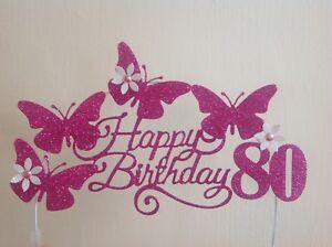 Fantastic Cerise Swirly Hot Pink Birthday Cake Decoration Glitter Butterfly Funny Birthday Cards Online Overcheapnameinfo