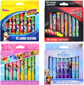 Pack-Of-10-Jumbo-Crayons-Colouring-Licensed-Princess-Cars-Frozen-Mickey-Mouse