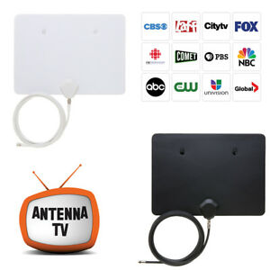 HDTV-1080P-Indoor-Digital-Antenna-40-Miles-HD-TV-UHF-VHF-FM-Black-or-White