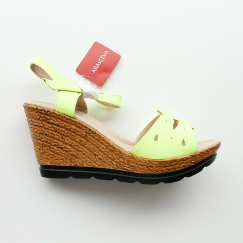 WOMANS FLUORESCENT GREEN WEDGE STRAP SANDAL BY KRASCEVA SIZE 4 TO 8