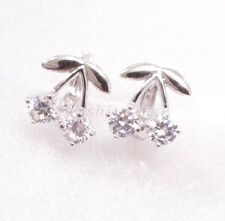 fashion1uk Girl White Gold Plated Clear Cubic Zirconia Cherry Earrings Tiny Cute