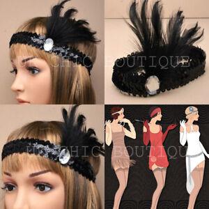 BLACK SEQUIN FEATHER HEADBAND 20s 1920s FANCY DRESS CHARLESTON BROW BAND FLAPPER