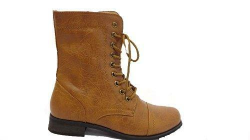CA Collection by Carrini Women's Leather Combat Boots Cognac Size 6.5 New