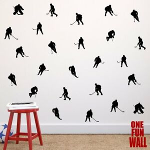 Details about Hockey Decals Vinyl Wall Stickers 30 Players Boys Girls Teen  Bedroom Decor Stick