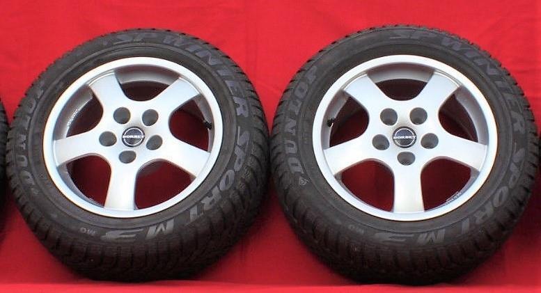 Set of 2 BORBET Type B 16 7.5  Alloy Rims w Dunlop Winter Sport 225 55 R16 Tires