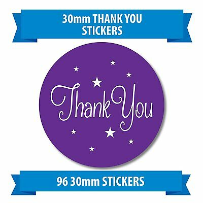 """96 30mm /""""THANK YOU/"""" stickers purple stars Small business Promotion"""