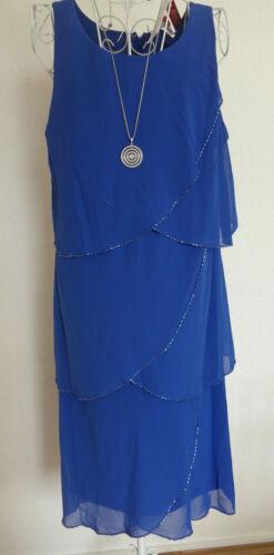925 Sheego Eventkleid Abendkleid Kleid Damen Gr 40 bis 56 Blau Ton