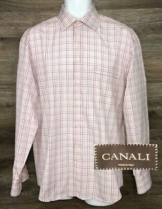 CANALI Mens Cotton Pink Red Plaid Long Sleeve Button Front Shirt Italy 40 15 3/4