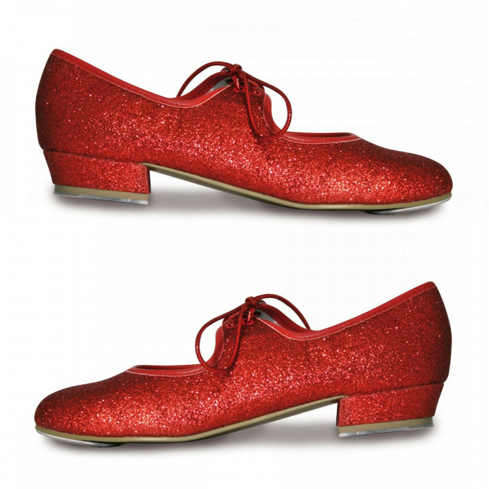 ROCH VALLEY LOW HEEL GLITTER EFFECT TAP SHOES CHILD 5-ADULT 8 RUBY RED DOROTHY