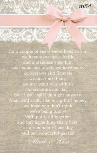 Ask For Money Brand New Wedding Poem Cards Invitation Inserts Money Cash Gift