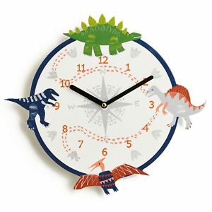 DINO DOODLES DINOSAUR WALL CLOCK CHILDRENS BEDROOM ACCESSORY NEW ...