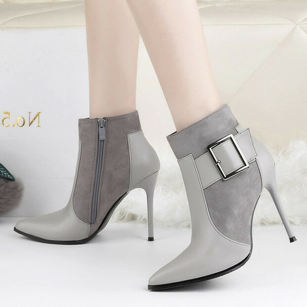 stivali stivaletti bassi scarpe stiletto simil 11 cm grigio eleganti simil stiletto pelle 9605 024076