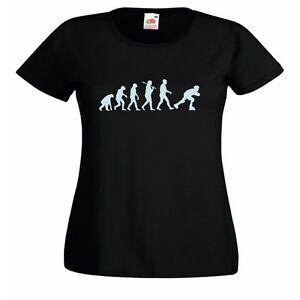 Evolution of Rollerskater Ladies Fitted Black T-Shirt roller derby extreme sport