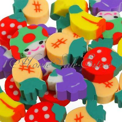 50Pcs Rubber Pencil Eraser Stationery Kid Children Novelty Fruit Cute Gift Toy