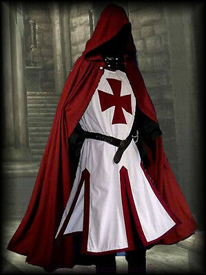Medieval Templar Knight Crusader Surcoat & Cloak Reenactment SCA Larp
