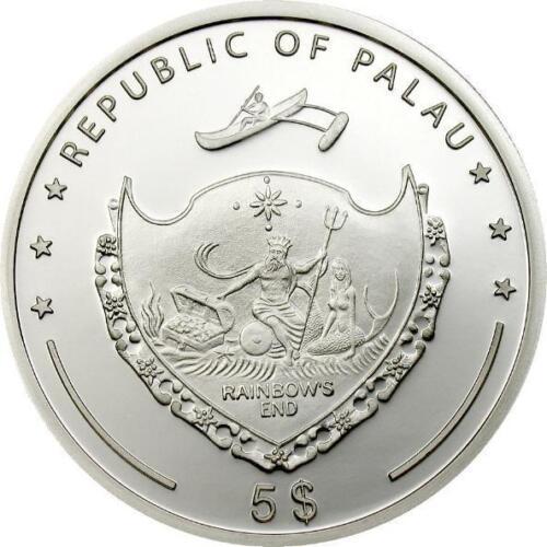Palau 2009 Gecko Prisms 5 Dollars Colour Silver Coin,Proof