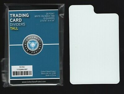 Heavy Duty 30 Mil- 2-3//4 x 3-3//4 TCNS28WH30 100 White Horizontal Trading Card Divider Cards