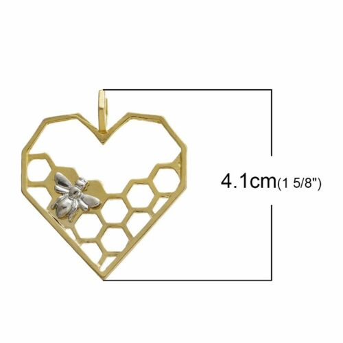 2 Or 5PCs Bee And Honeycomb 41mm Gold Plated Heart Pendant C1388-1