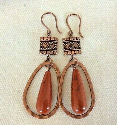 Natural Gemstone Red Jasper Long Gold Dangle Drop Hook Earrings Boho