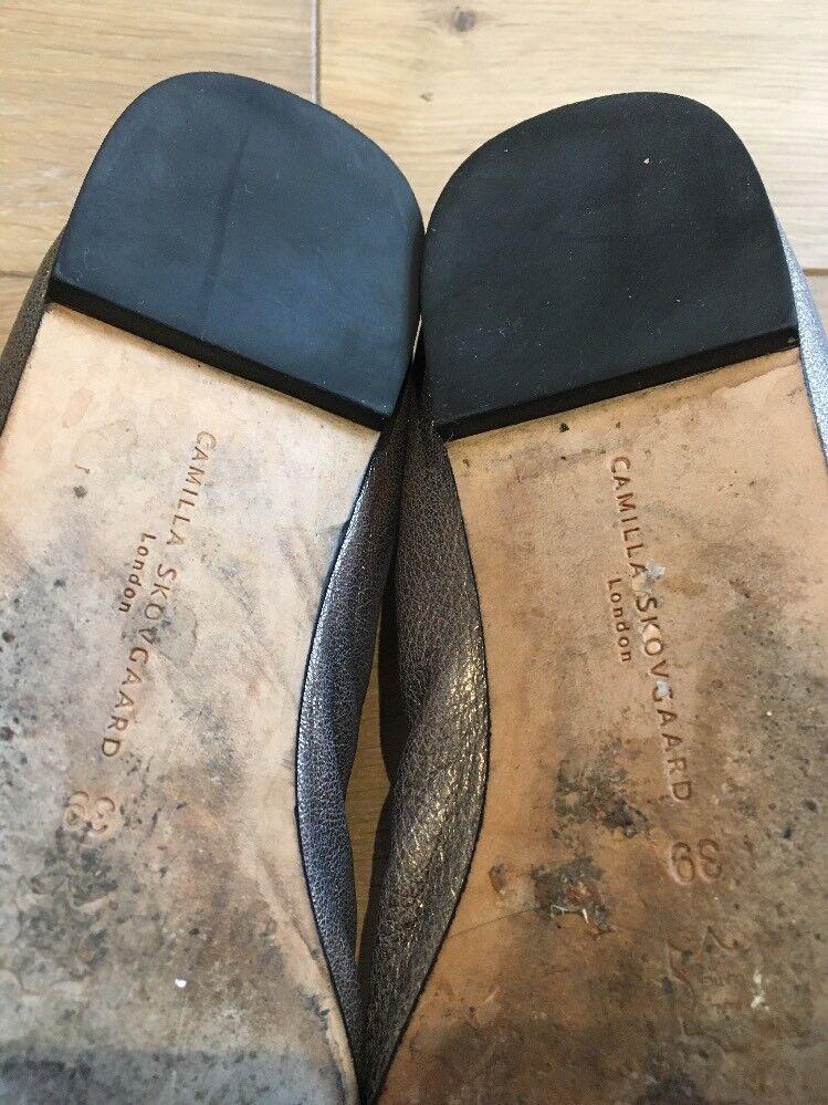 Camilla Skovgaard Flat Scarpe in Pelle Metallico EU 39 US US US 8.5 9 3fe81f