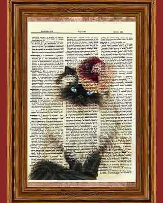 Victorian Siamese Cat Vintage Dictionary Curious Art Print Poster Picture OOAK