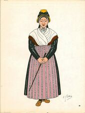 Gravure d'Emile Gallois costume des provinces françaises 1950 Marche, Creuse