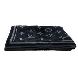 NEW-LOUIS-VUITTON-Black-And-Gray-Monogram-Eclipse-Beach-Towel