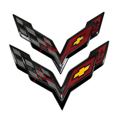 Black Carbon Fiber Hood Front /&Rear Cross Flags Emblem For Corvette C7 2014-2019