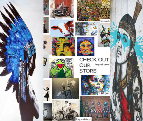 Indian Native Street Art Graffiti Painting  Print Canvas Eagle Head Twin large
