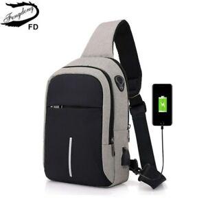 Bandolera-Mochila-Cruzada-Bolso-Pequeno-Hombro-Pecho-USB-Impermeable-Para-Hombre
