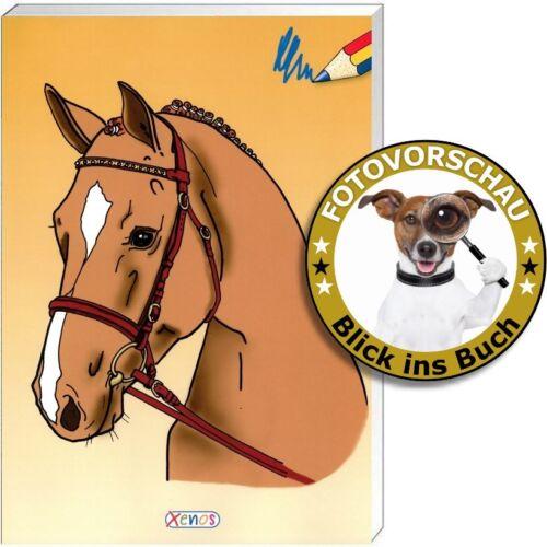 Spielen und rätseln mit Motiven rund um den Reitsport Malbuch Pferde Malspaß