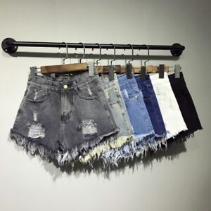 S-6XL Women Ripped High Waisted Stonewash Denim Shorts Jeans Beach Hot Pants HOT