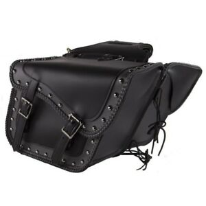 "13/"" Waterproof STUDDED Saddlebags W// GUN POCKETS /& LOCKS For HARLEY DAVIDSON"