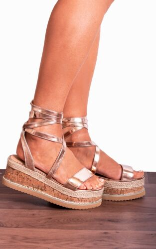 Rose Gold  Lace Ups Canvas Espadrille Wedged Platforms Wedges Strappy Sandals