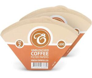 200 Size 2 / 2K Coffee Filter Paper Cones, Unbleached Brown Replacement