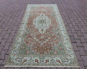 Anatolian Medallion Design Ouhsak Carpet Turkish Vintage Handmade Area Rug 5x9ft