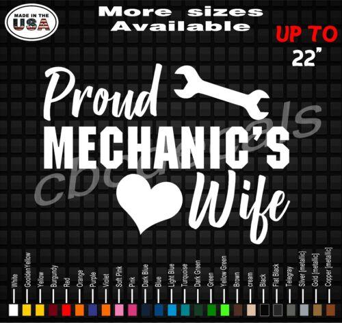Proud Mechanic/'s Wife Decal Sticker Mechanic Wife Vinyl Decal Stickers