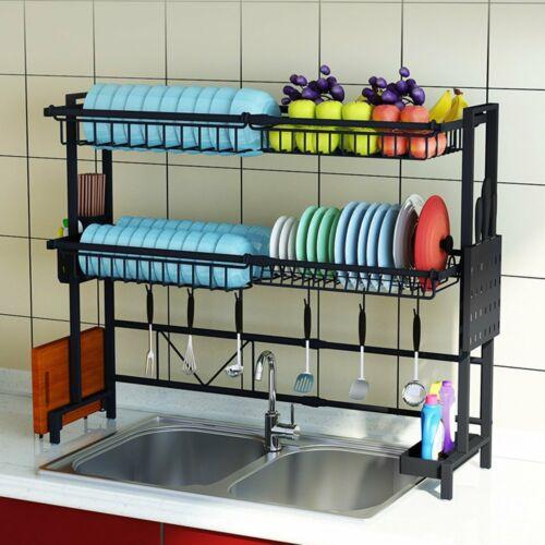 Adjustable Sink Utensils Dish Drying Rack Stainless Steel Drainer Kitchen Shelf