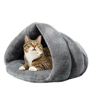 Cat-Bed-Cave-House-Bed-Beds-Warm-Pet-Covered-Fleece-Tunnel-Tube-amp-Kitty-Mat