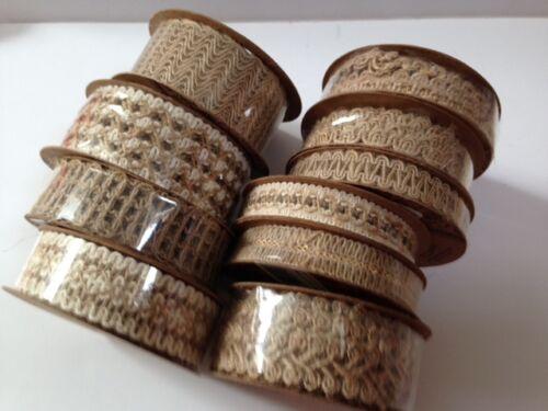 8mm to 45mm wide Eleganza DECORATIVE HESSIAN Natural ribbon 10 designs 4.57m