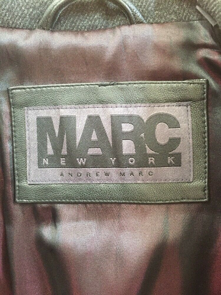 MARC NEW YORK BY ANDREW Trim MARC Charcoal Lana Pelle Trim ANDREW Cappotto XL Mint! 21e716