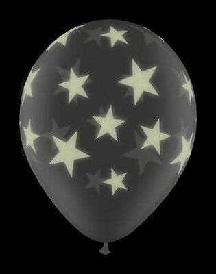 """GLOW IN THE DARK Stars 11"""" Balloons - Choice of Quantity (Stars-A-Round)Qualatex"""