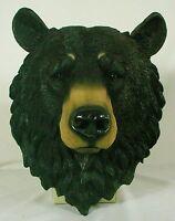 Large Black Bear Head Wall Plaque Cub Polyresin Totem Sculpture Wildlife Le