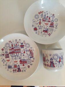 Set Bowl,Cup /& Plate Matin Matka Pattern Finland by Raija Liisa Uosikkinen Vintage Mid Century Modern Children Arabia Finnish