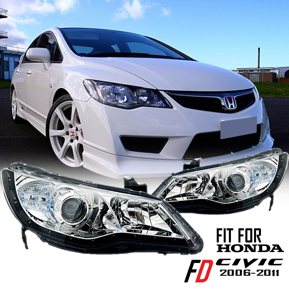 Led Headlights Clear Halo LED Projector R8 Civic 06-11