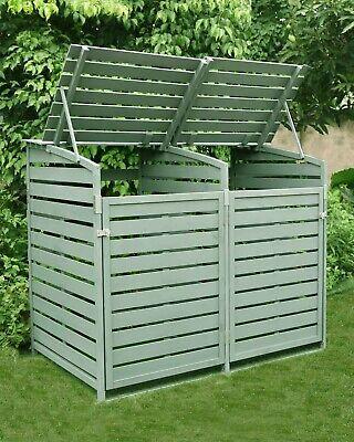 Double Wooden Wheelie Bin Store Storage Sage Green Garden Cover Recycling Outdoo