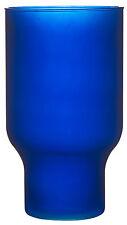 Large Blue Glass Flower Vase 30 cm Wide Mouth Hurricane Vase Matt Blue Ecoglass